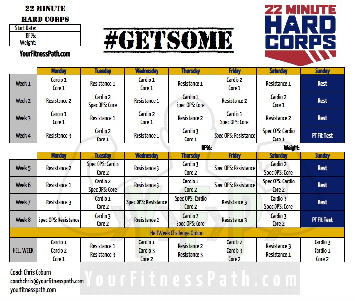 22 Minute Hard Corps Workout Calendar Deluxe
