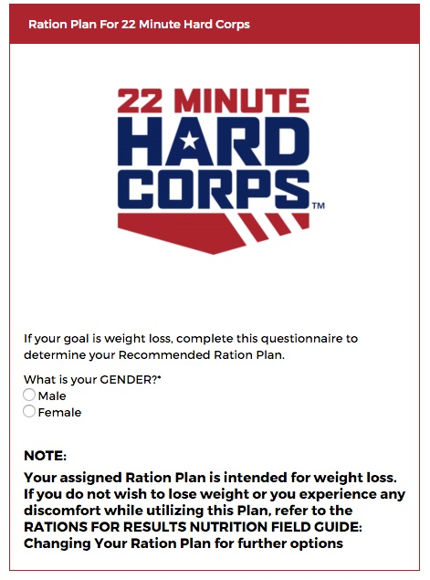 22 Minute Hard Corps Ration Plan Calculator