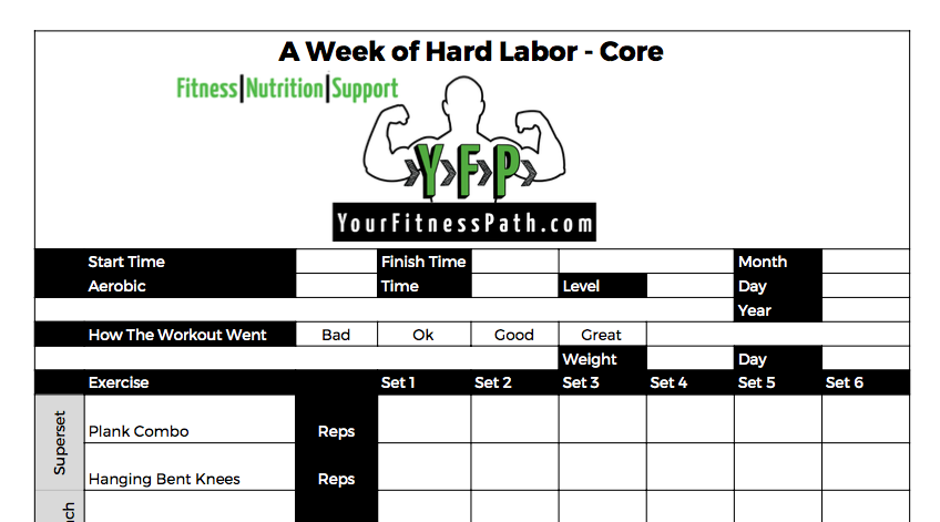 A Week of Hard Labor - Workout Log - Core