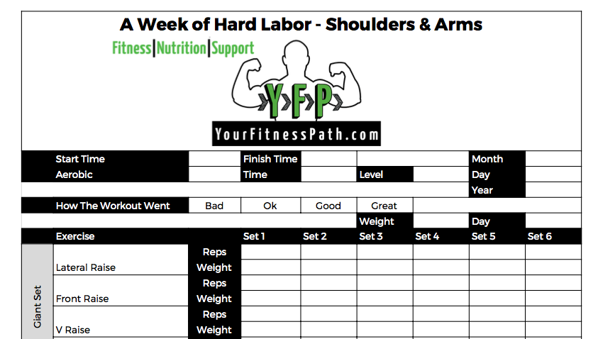 A Week of Hard Labor - Workout Log - Shoulders and Arms