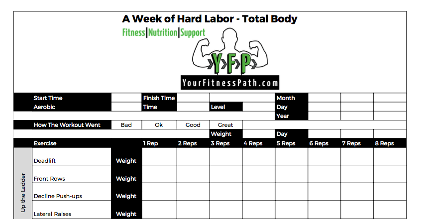 A Week Of Hard Labor Day 5 Total Body Your Fitness Path. A Week Of Hard Labor Workout Log Total Body. Worksheet. Workout Worksheet At Mspartners.co