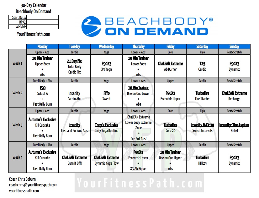 30 Day On Demand Workout Calendar