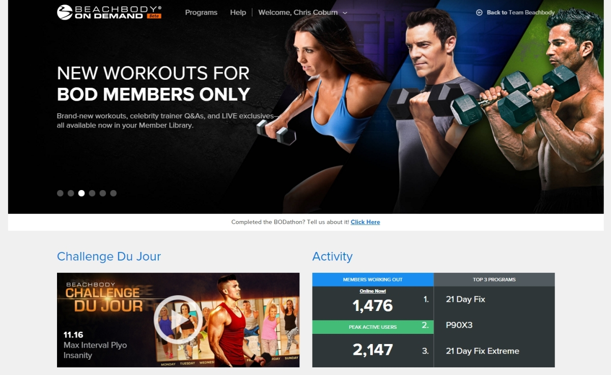 Beachbody On Demand - Landing Page