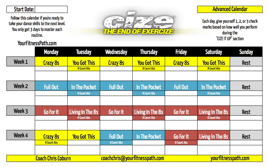 cize advanced calendar Cize Workout Calendar - Your Fitness Path