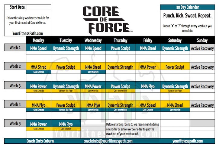 Core De Force Workout Calendar - Your Fitness Path
