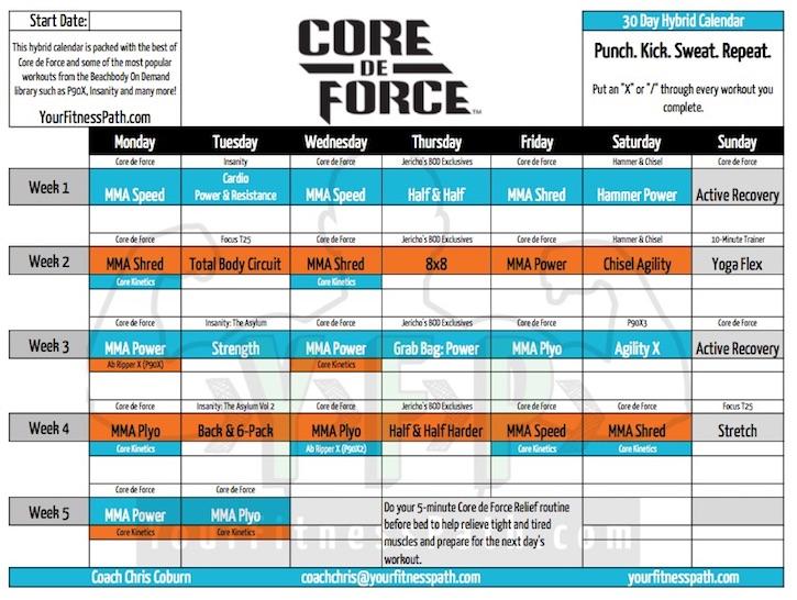 Core de Force Workout Calendar - Your Fitness Path