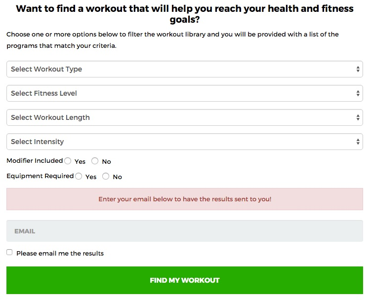 Find Your Workout - find the right at home workout program that is right for you!