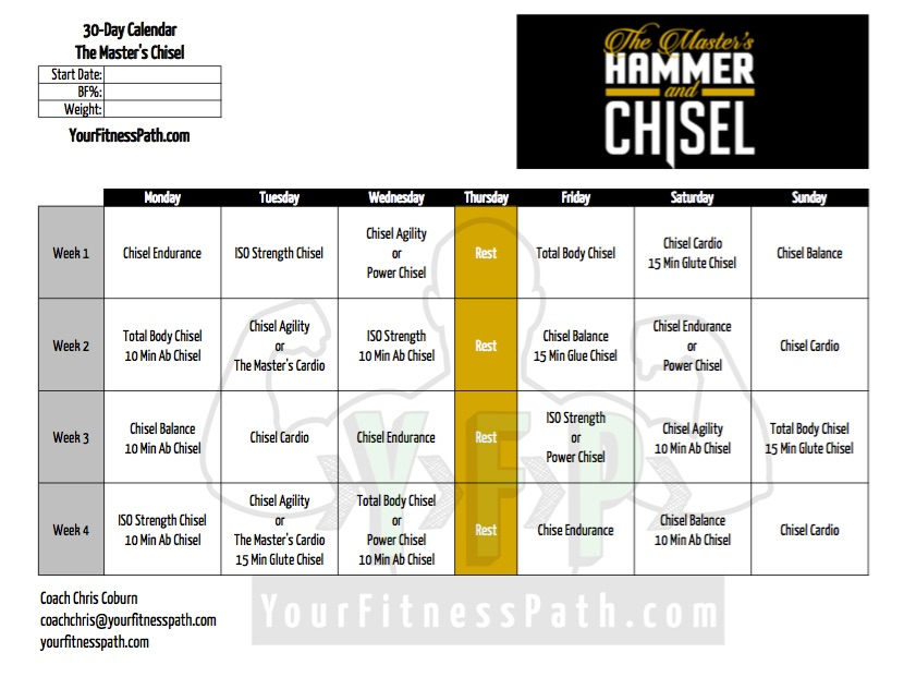 Hammer And Chisel Workout Calendar Masters 30 Days