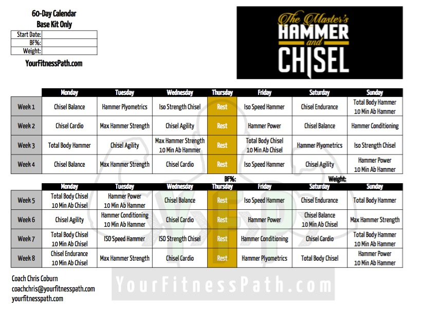 Hammer and Chisel Workout Calendar