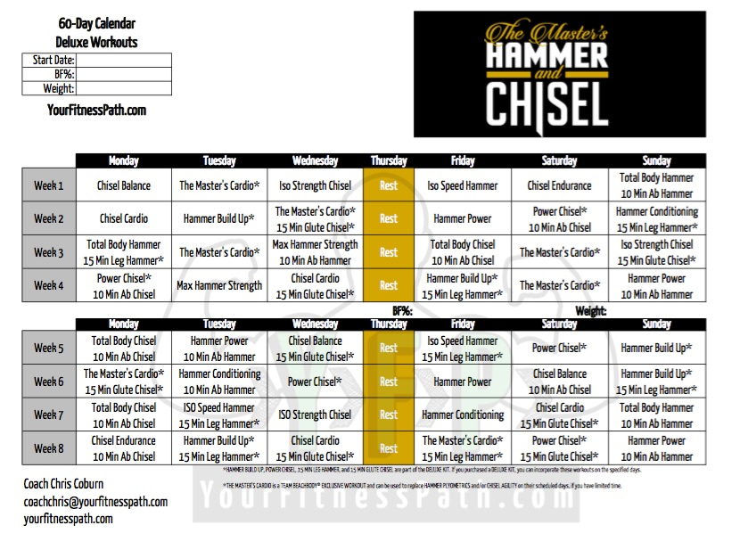 Hammer and Chisel Workout Calendar Deluxe