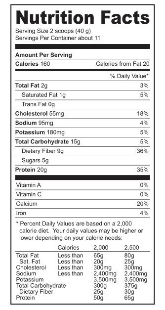Miracle Whey-Protein - Vanilla Supplement Facts