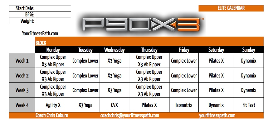 P90X3 Calendar Your Fitness Path – P90x3 Worksheets