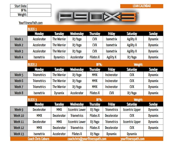 P90X3 Workout Schedule Calendar Lean as well as p90x lean worksheets ...