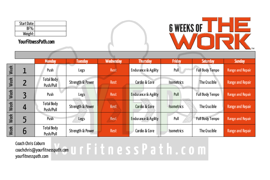 6 Weeks of The Work Workout Calendar