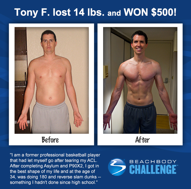 Tony F. won $500 with P90X2